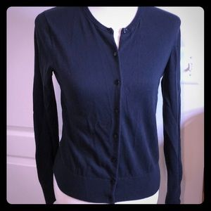 Ann Taylor Cotton Ann Cardigan Sweater Navy Blue